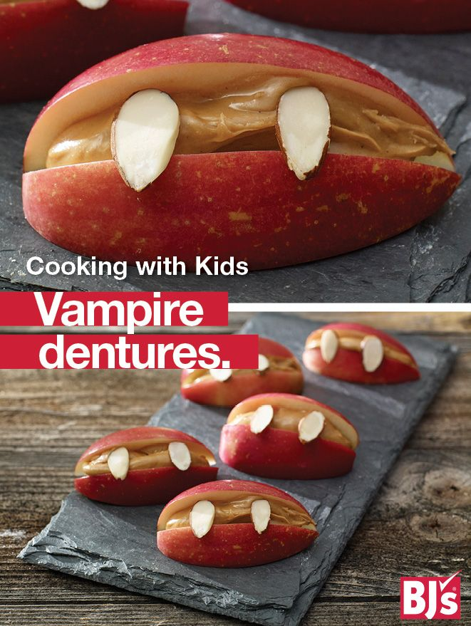 Healthy Kids' Snack Idea: There's no trick to these easy Halloween party treats made with wholesome apples, peanut butter and almonds. http://stocked.bjs.com/food/cooking-kids-vampire-dentures