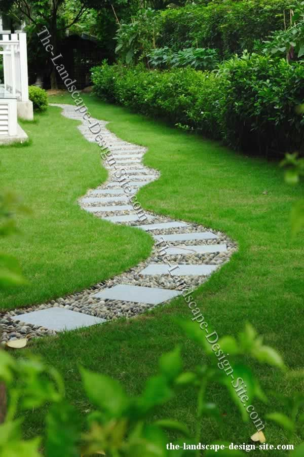 56 best gravel landscaping images on pinterest for Stone path in grass