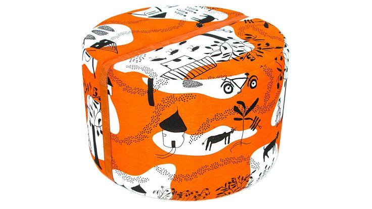Orange Livstycket pall, fotpall, rund, puff, mönstrad, skinn, möbel, inredning, möbler, detalj, vardagsrum, hall, sovrum.