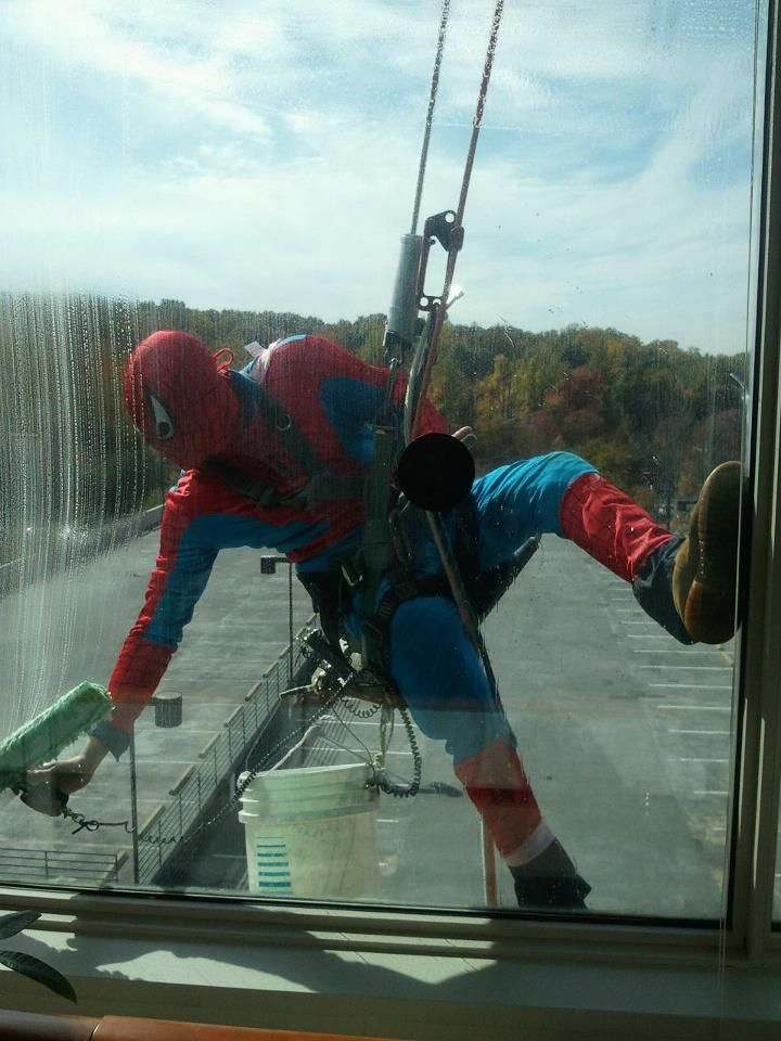 """spiderman window washer :) """"Dress for the job you want, not the job you have"""""""