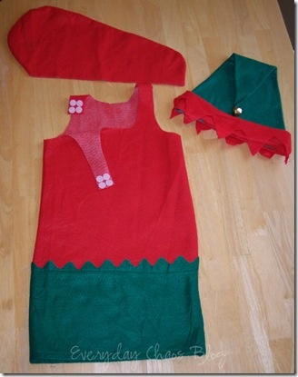 If one ever needs a quick and easy elf costume for a size 7 or smaller child...here you go!  :)