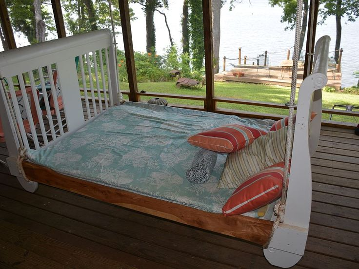Pickwick Lake house rental - Queen-size hanging bed on spacious porch is wonderful for napping and reading.
