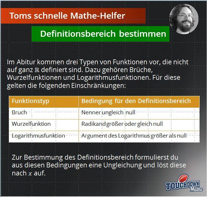 Toms schnelle Mathe-Helfer: Definitionsbereich bestimmen  #Abitur #Definitionsbereich #Mathe #TomsschnelleMatheHelfer #Mathehelfer #Abi #Matheabitur #Funktionen #Definitionsbereichbestimmen #Oberstufe