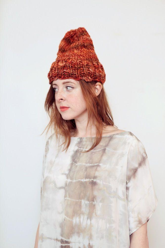 Image of Elora toque of thick & thin hand spun Merino wool (shown in burnt orange)