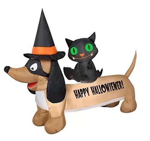 HALLOWEEN INFLATABLE 5 HAPPY HALLOWIENER DOG WITH BLACK CAT BY GEMMY @ niftywarehouse.com #NiftyWarehouse #Halloween #Scary #Fun #Ideas