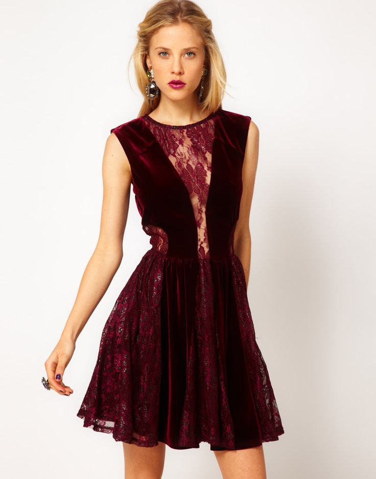 ASOS Skater Dress in Lace and Velvet