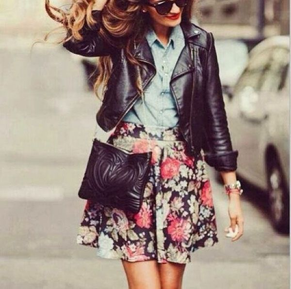 Make a floral skater skirt more tough by wearing it with a leather jacket
