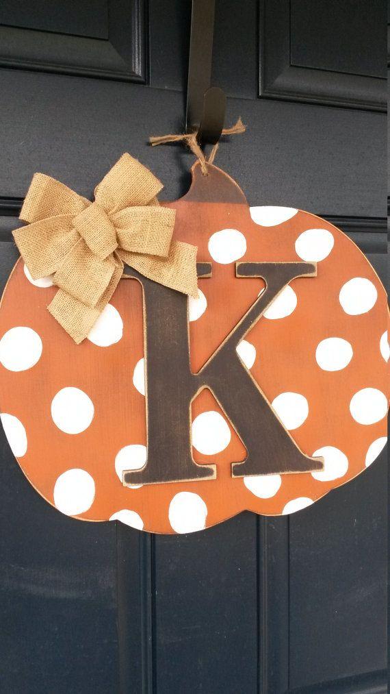 Fall door decor, Wood pumpkin door decor with intital, Fall door decor with…