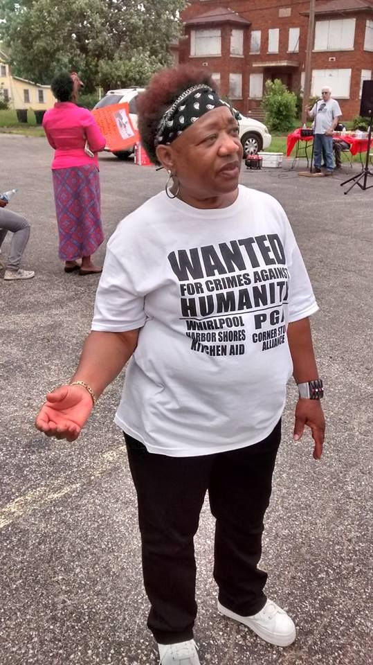 Dorothy Pinkney, wife of political prisoner Rev. Edward Pinkney, who has been incarcerated unjustly for 18 months, organized and led #OccupyPGA2016 on 5/28/16 in Benton Harbor, MI. www.bhbanco.org