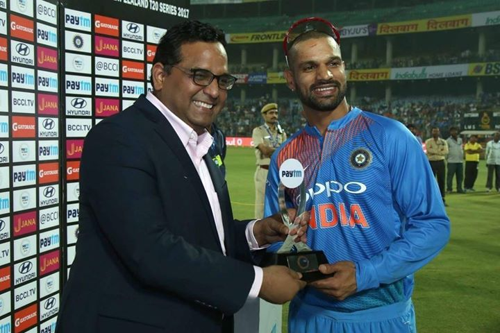 Man of the match Shikhar Dhawan #INDvNZ - http://ift.tt/1ZZ3e4d