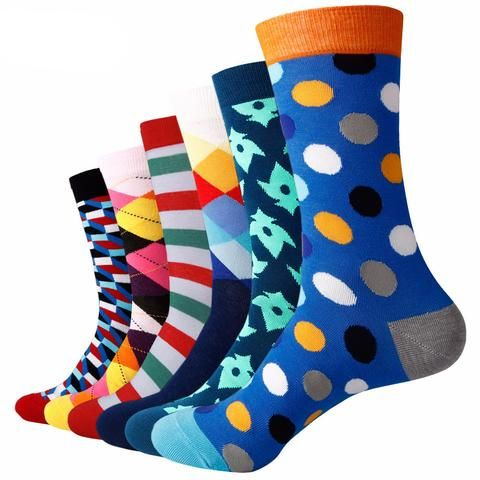 Funky Designs and Patterned Dress Socks Pack of Six (6) (20 Options)