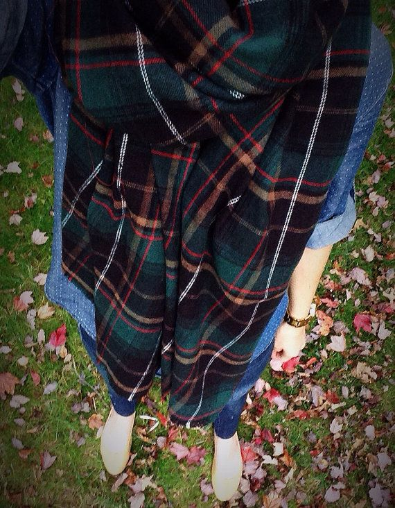 Tan Tartan Check Blanket Scarf by TheProvidenceStory on Etsy