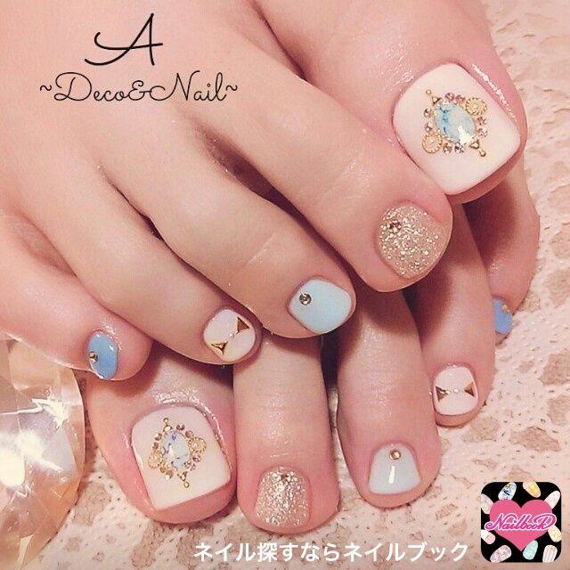 ネイル 画像 A~Deco&Nail~ 下山門 996917 青 その他 夏 ソフトジェル フット
