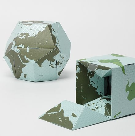 You can assemble the globe easily. The reversible globe packs two faces of the world in one volume.  You can flip the surface of a dodecahedral globe inside out and transform to a cube by re-assembling six units.