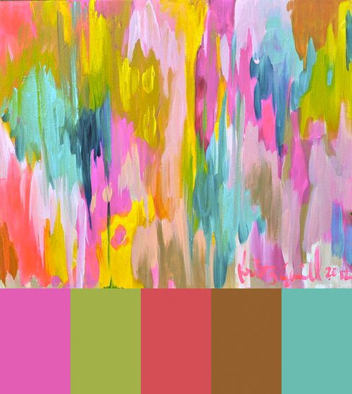 These paintings by Kristy Gammill, which are literally dripping with color, are making the rounds on Pinterest art boards of late. They're sort of impressionist meets abstract, with a bit of ethnic patterning thrown in. The mix of bright and pretty colors, with a pop of neon, make them an appealing candidate for a Colourlovers palette workup.: Art Boards, Abstract Art, Landscape Paintings, Happy Colors, Colors Palettes, Kristi Gammil, Colour Palettes, Acrylics Paintings, Summer Colors