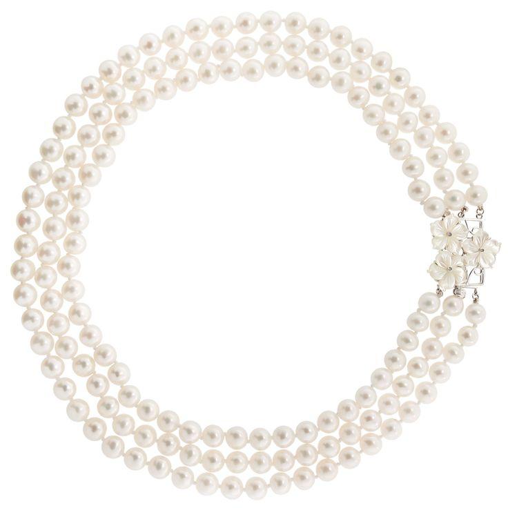 Κολιέ με λευκά μαργαριτάρια και λευκόχρυσο κούμπωμα 18K - M121032