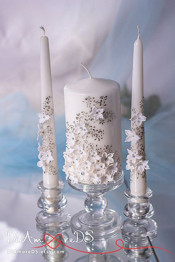 White flowers unity candle personalized votive by DiAmoreDS