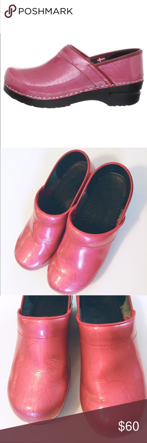 Sanita Professional Pearl Clogs Shiny hot pink Danish style clogs like Dansko. Purchased 4 months ago. Some creasing at bends of toe from wear but otherwise in great condition,lots of life left! Padded step and orthopedic rocker bottom Isolde make these the perfect shoe for people on their feet all day. Size 39 (8.5-9). NO TRADES Sanita Shoes Mules & Clogs
