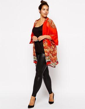 Bild 4 von ASOS CURVE – Kimono mit auffälligem Druck