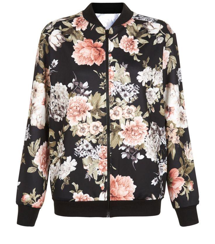 cameo rose floral print scuba bomber jacket manteaux shops et vestes. Black Bedroom Furniture Sets. Home Design Ideas