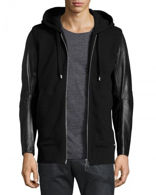 Diesel+Mifun+Fleece+Zip+Up+Hoodie+with+Leather+Sleeves+Black+|+Top,+Sweatshirt+and+Clothing
