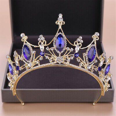 Ad(eBay Url) 7.5cm Adult Blue Silver Crystal Wedding Bridal Party Pageant Prom Tiara Crown