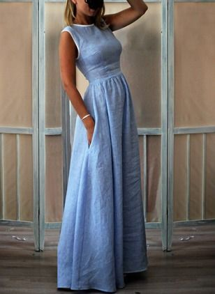 Solid Sleeveless Maxi A-line Dress #dresses #maxidress #floryday ,maxi dresses f…