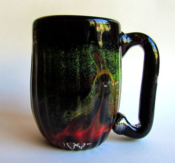 Large Mug With Handle 16 Oz Pint Glass Black Glass
