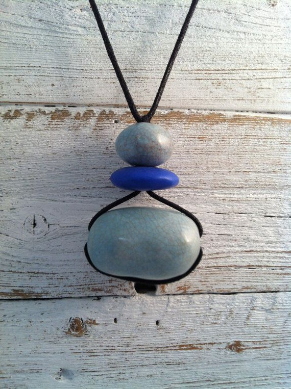 Zen Ceramic Necklace, Stacked Turquoise Cobalt Blue, Zen Jewelry, Spring Fashion, Ceramic Jewelry