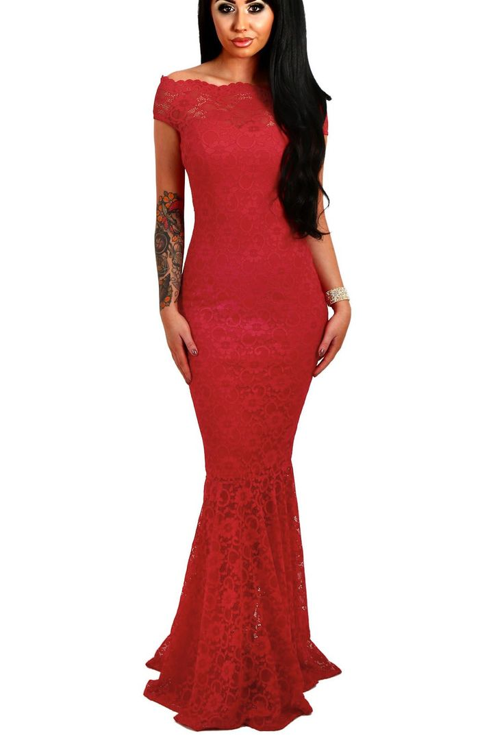 Off The Shoulder Red Lace Mermaid Evening Gown https://www.modeshe.com #modeshe @modeshe #Red