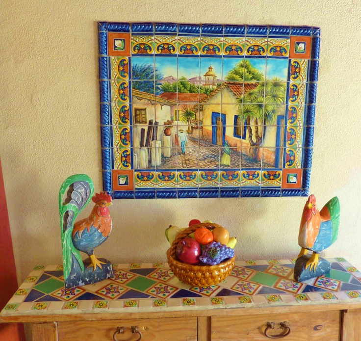 Mexican Tile Mural And Rustic Wooden Side By Kristiblackdesigns