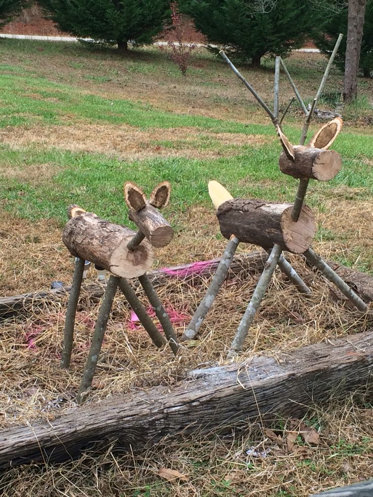 Two deer made for Christmas decor
