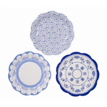 Talking Tables Gebaks bordjes blauw | Feest op tafel | L&L kids stoffen slingers & Klippan dekens