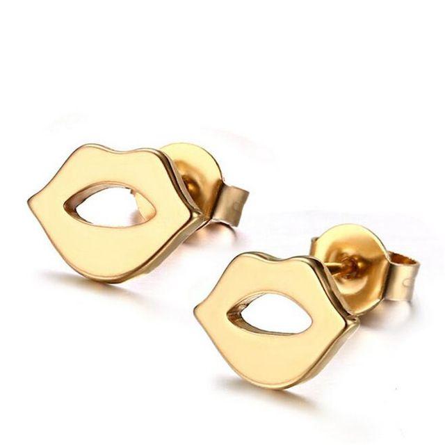 Горячие продажи Ювелирные изделия из Розового золота Губы дамы серьги Титана стали Женщины стержня уха ювелирные изделия серьги!!