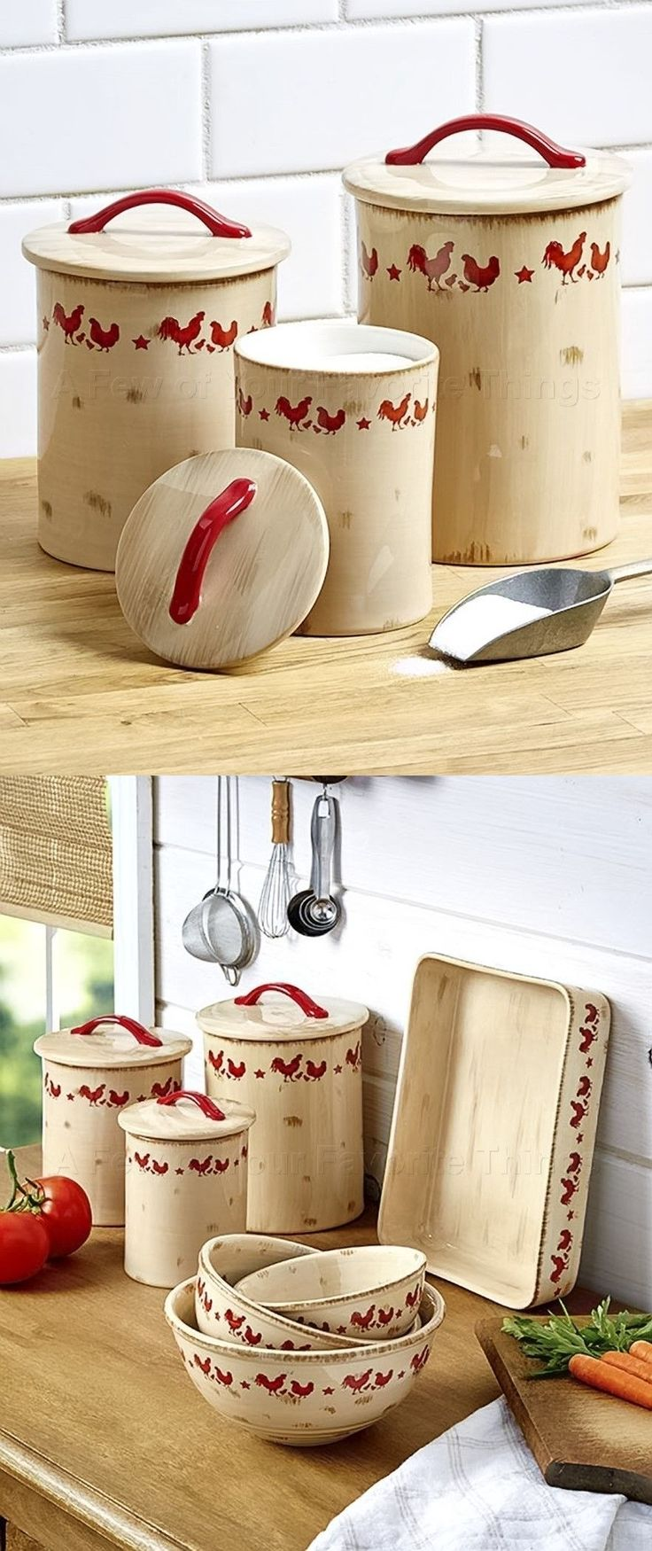 Tuscan old world drake design medium berry kitchen canisters set of 3 - Canisters And Jars 20654 Set Of 3 Canisters Country Red Rooster Distressed Kitchen Home Decor