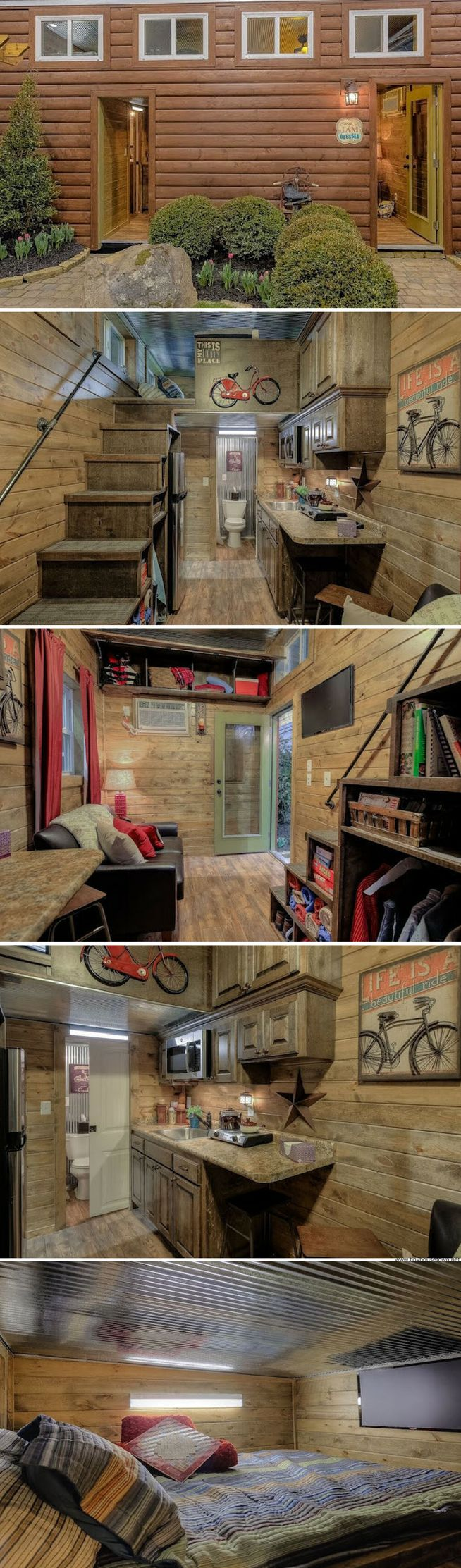 A 215 sq ft shipping container home, styled to look like a cabin