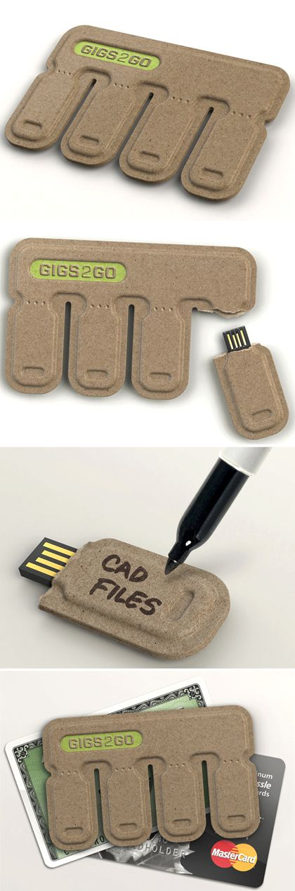 Tear and Share USB Key - You just need to tear off a tab and take the handy USB Drive on the go with you! Crafted essentially from 100% post-consumer molded paper pulp, this economical, credit-card-sized data pack is fantastic! You can even write on the tab directly and label the drive! Designers : Kurt Rampton and BOLTgroup