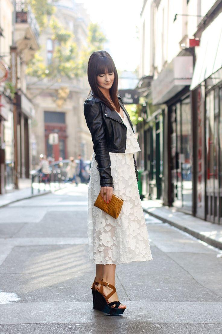 Vestido leve com jaqueta de couro   Danielle Noce