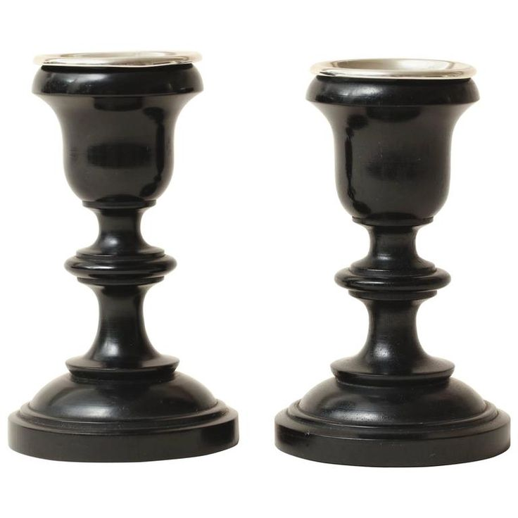 English Art Deco Pair of Ebony and Sterling Silver Candlesticks | From a unique collection of antique and modern candle holders at https://www.1stdibs.com/furniture/decorative-objects/candle-holders/