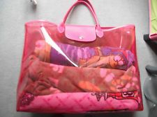 ORIGINAL LONGCHAMP große Tasche,Shopper,Strandtasche,transparent/Pinkton,SELTEN!