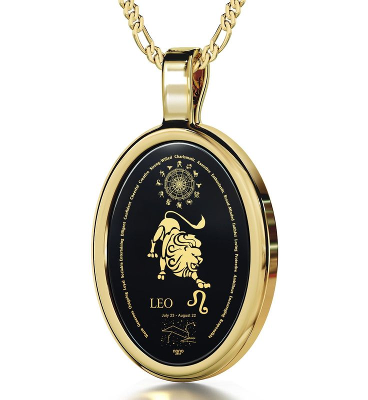 """The World of Leo, 14k Gold Necklace, Onyx. Honor your favorite Leo's broad-minded and creative nature with this 14k gold pendant! Depiction of a Leo, its traits, constellation, Greek name, symbol, birth dates and the whole Zodiac in 24k pure gold Natural Onyx Stone 14k Yellow Gold oval frame (29.5mm x 17mm) Italian 14k Gold Figaro chain, 18"""" (45cm) Fantastic gift idea men and women will love that comes with a custom-made magnifying glass inside an exquisite box   Keep reading"""
