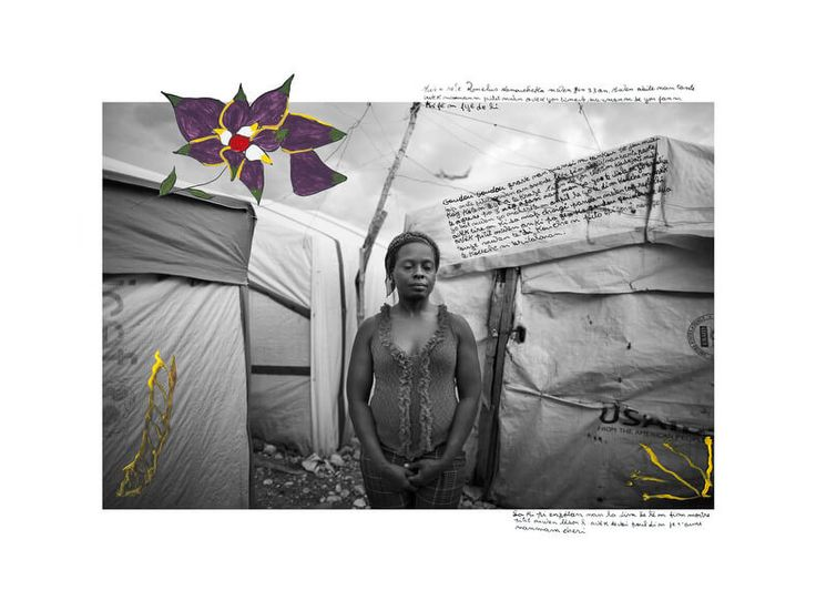 Campaign against rape in Haiti. After the earthquake. Photos de femmes haïtiennes après le tremblement de terre-My name is Nanoucheka. I'm 33 years old. I live in a tent with my mother, my son and my nephew. My mother is a courageous woman. I am proud to her daughter.  The earthquake is sculpted in my memory like the day I brought my son to this earth. It forced me to go live in a tent because my house collapsed. I am a rape victim. I was attacked by three armed men. They raped me, they…