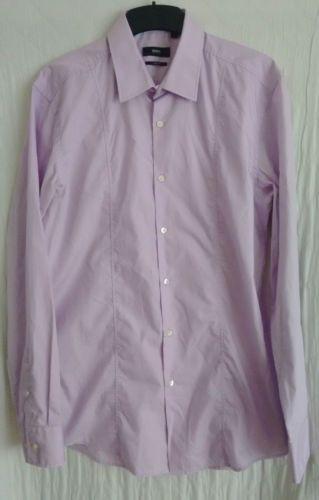 HUGO-BOSS-mens-light-purple-shirt-size-16-41-long-sleeve