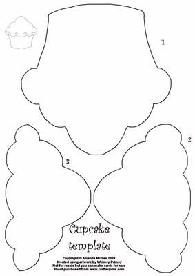 Cupcake template on Craftsuprint designed by Amanda McGee - This is a new series I am designing of templates. Just cut out the elements and use the apertures to draw round your papers to create your own cupcake design. Try using with template material to produce a permanent template. Click on my name to see more of my templates and other designs I have - Now available for download!