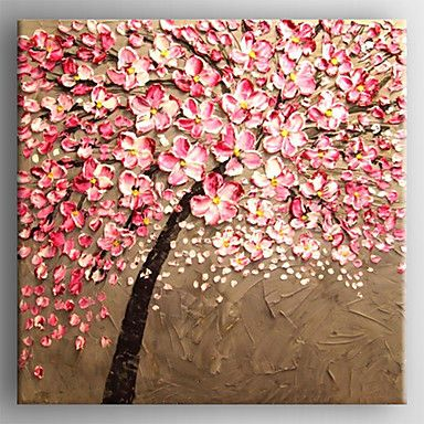 Oil Painting Modern Knife Flower Painting Hand Painted Canvas with Stretched Framed Ready to Hang 2016 - $64.99