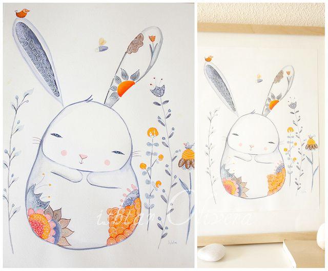 compassion Bunny watercolor by Ishtar olivera ♥, via Flickr