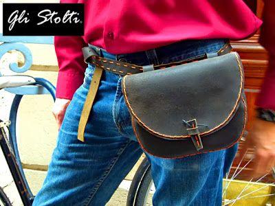 Borsa da cintura in cuoio lavorata e cucita a mano. Gli Stolti design.