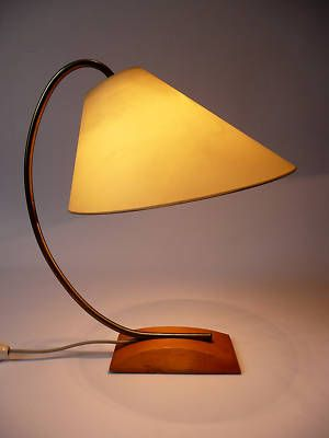 Cream Desk Lamp with Wood Base
