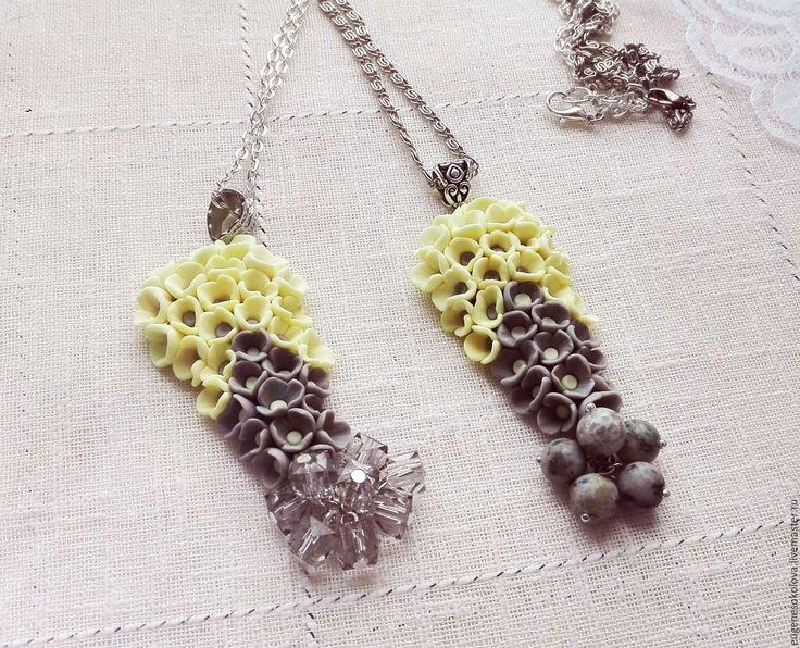 Купить Подвеска Цветочная из полимерной глины серая желтая с бусинами - серый, желтый, серо-желтый