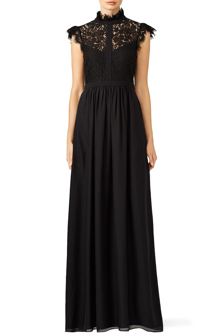 Rent Black Lace Paneled Gown by Rachel Zoe for $90 only at Rent the Runway.